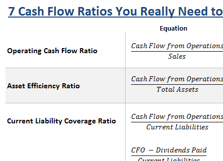 cash flow ratios for investing